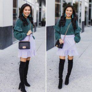 NWT J. Crew Lilac Velvet Peplum Skirt